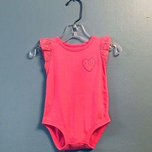 Carter's Pink Bodysuit w/ Eyelet Flutter Sleeves